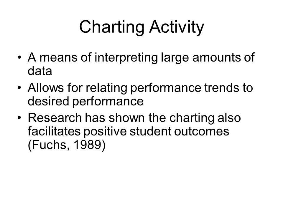 Charting Activity A means of interpreting large amounts of data