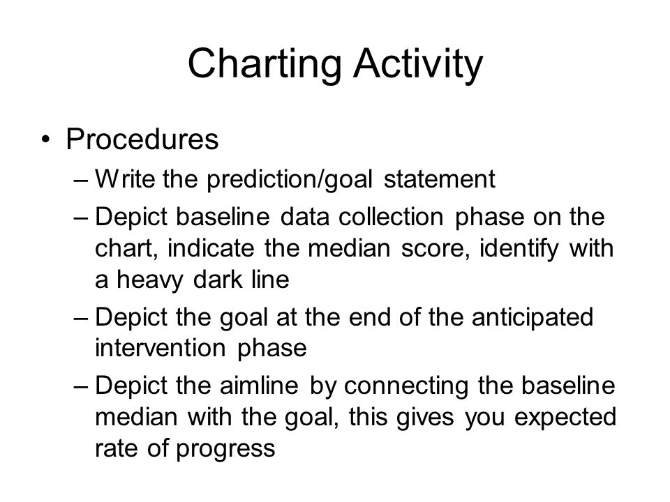 Charting Activity Procedures Write the prediction/goal statement