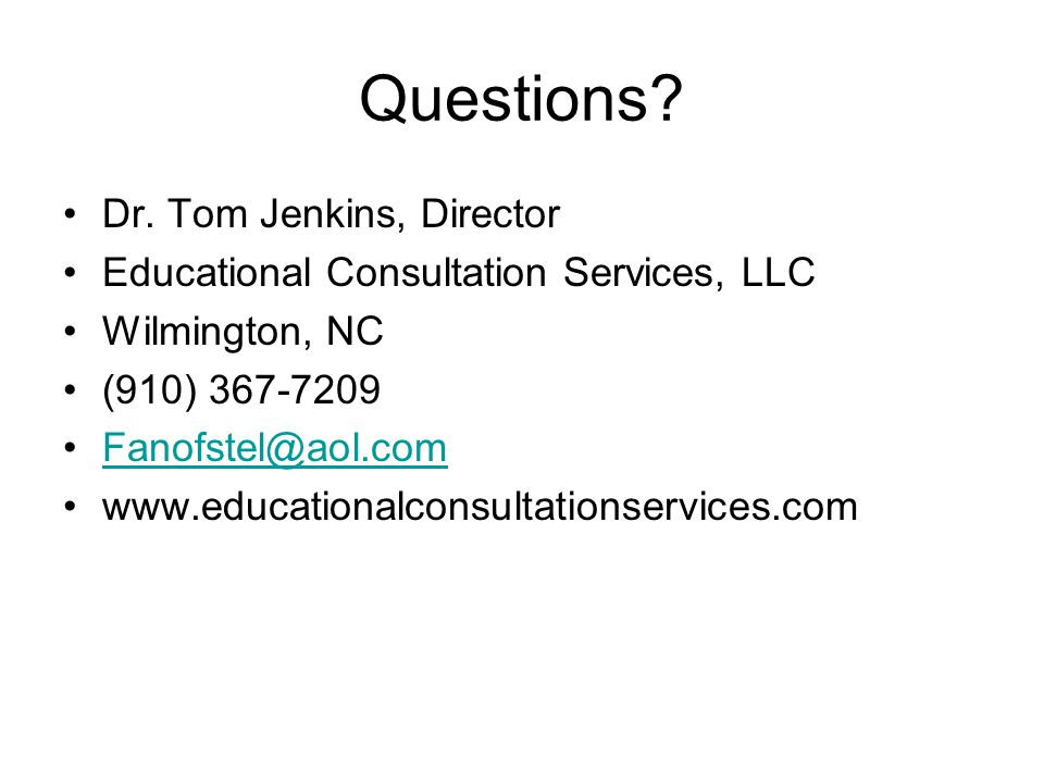 Questions Dr. Tom Jenkins, Director