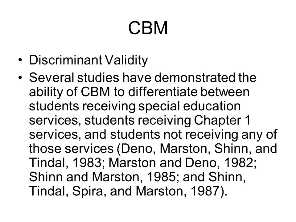 CBM Discriminant Validity