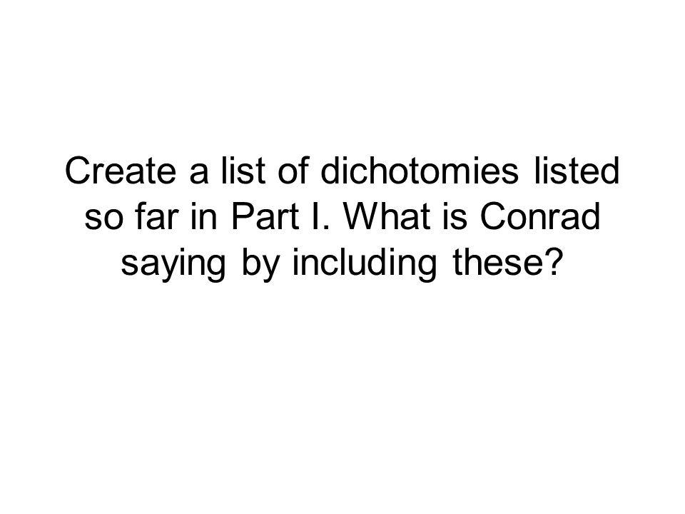 Create a list of dichotomies listed so far in Part I