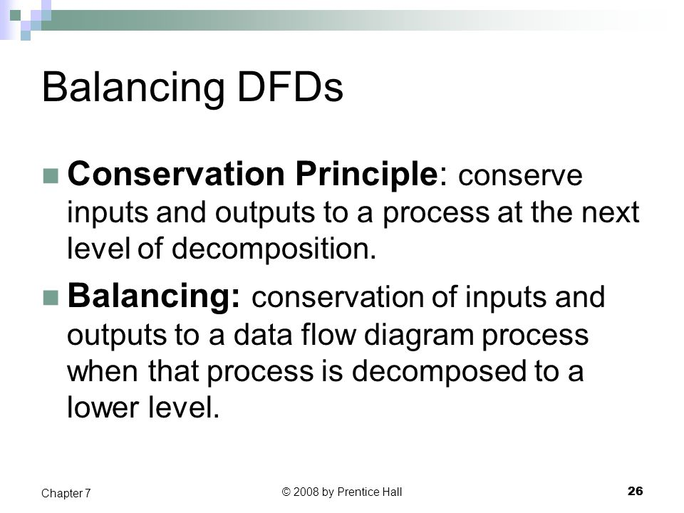 Balancing DFDs Conservation Principle: conserve inputs and outputs to a process at the next level of decomposition.