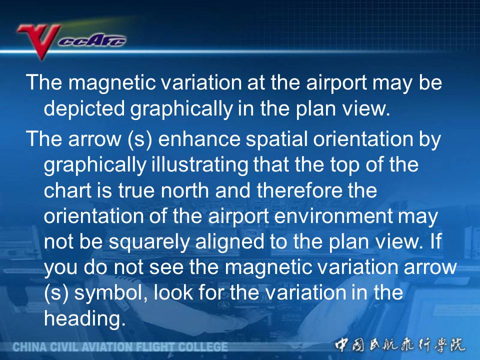The magnetic variation at the airport may be depicted graphically in the plan view.