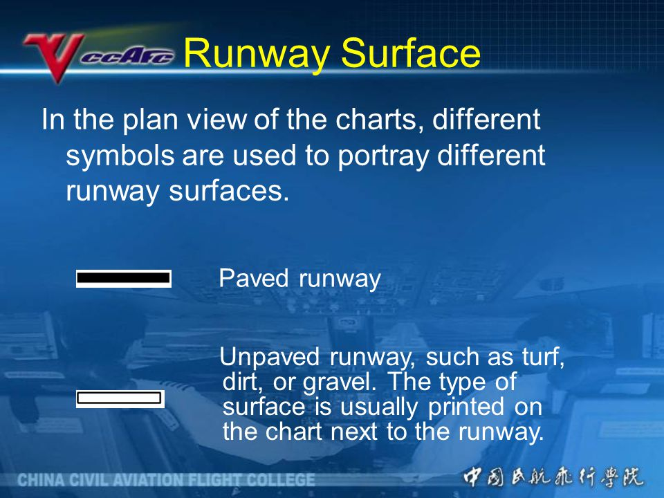 Runway Surface In the plan view of the charts, different symbols are used to portray different runway surfaces.