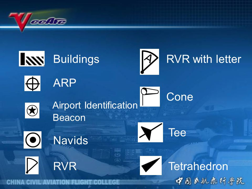 Buildings RVR with letter ARP Cone Airport Identification Beacon Tee Navids RVR Tetrahedron
