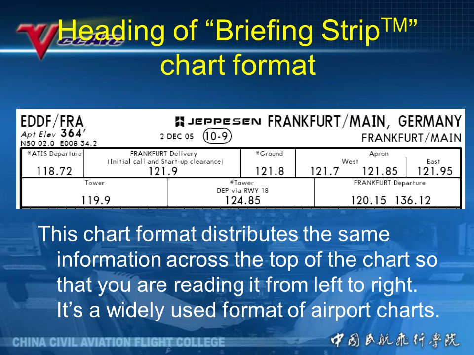Heading of Briefing StripTM chart format