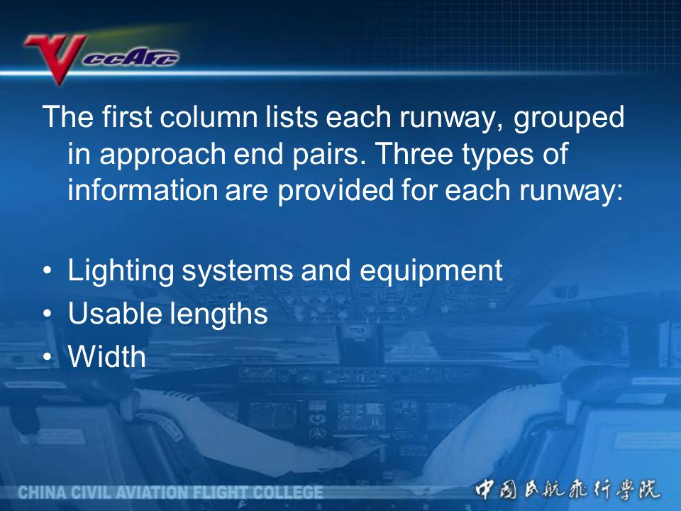The first column lists each runway, grouped in approach end pairs