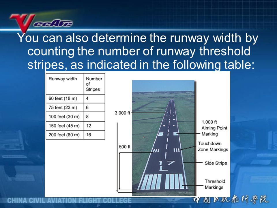 You can also determine the runway width by counting the number of runway threshold stripes, as indicated in the following table: