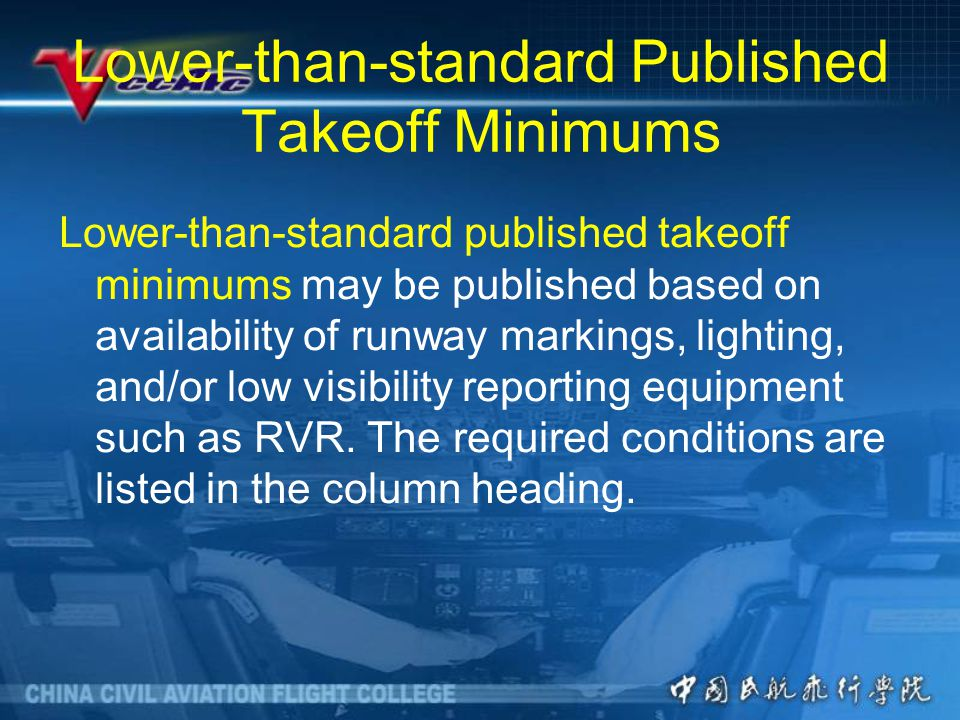 Lower-than-standard Published Takeoff Minimums