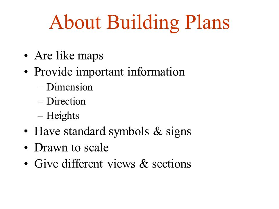 About Building Plans Are like maps Provide important information
