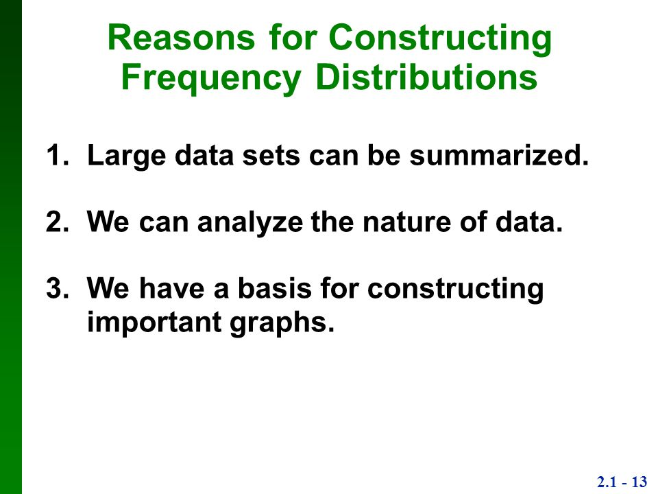 Reasons for Constructing Frequency Distributions