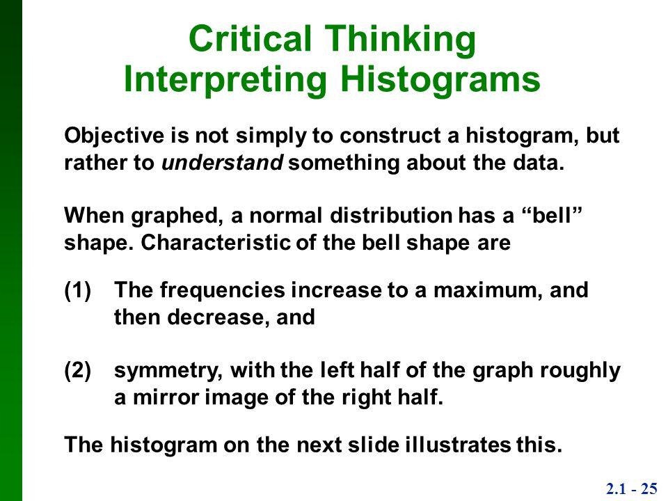 Critical Thinking Interpreting Histograms