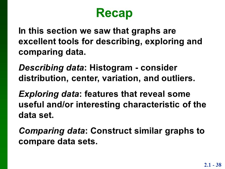 Recap In this section we saw that graphs are excellent tools for describing, exploring and comparing data.