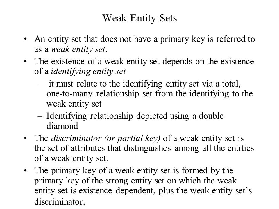 Weak Entity Sets An entity set that does not have a primary key is referred to as a weak entity set.
