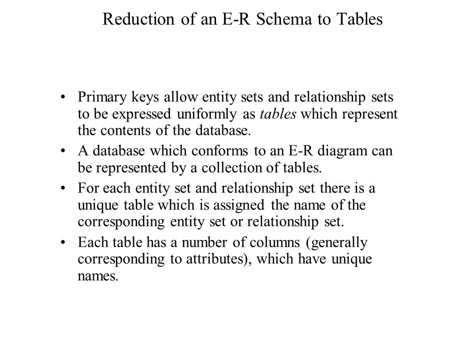Reduction of an E-R Schema to Tables