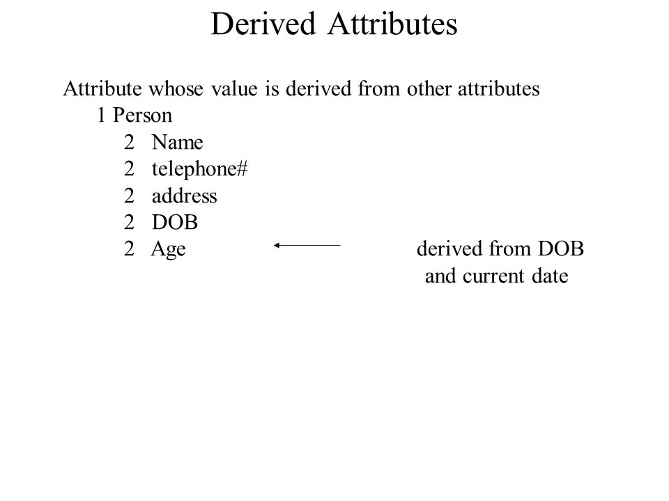Derived Attributes Attribute whose value is derived from other attributes. 1 Person. 2 Name. 2 telephone#