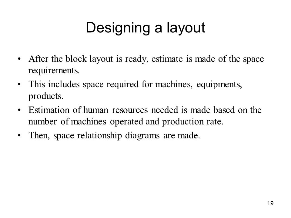 Designing a layout After the block layout is ready, estimate is made of the space requirements.