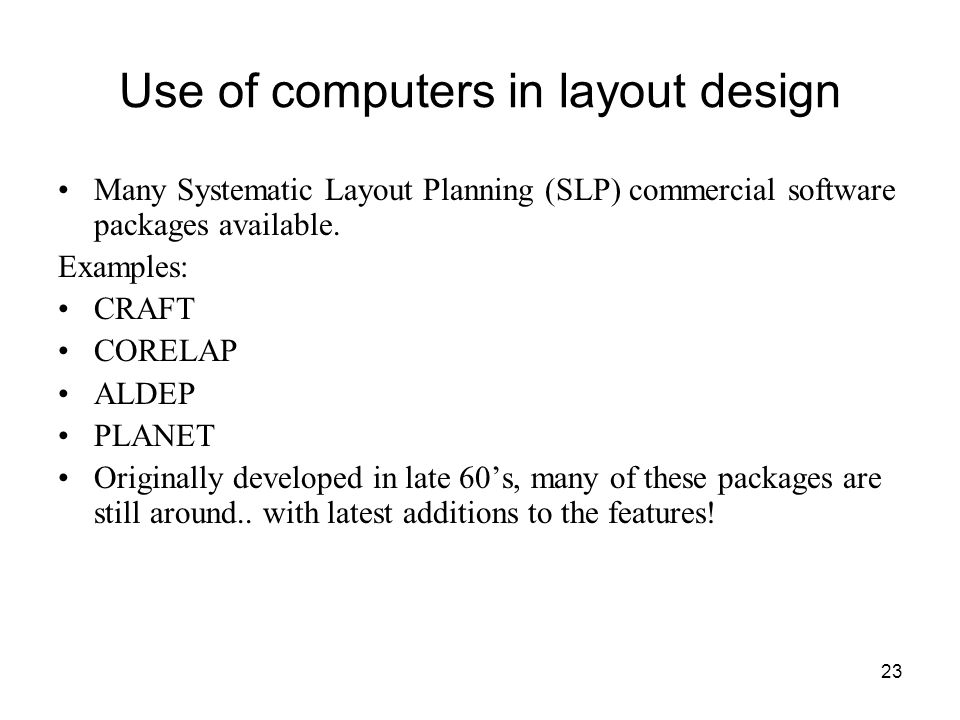 Use of computers in layout design