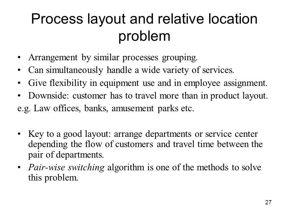 Process layout and relative location problem