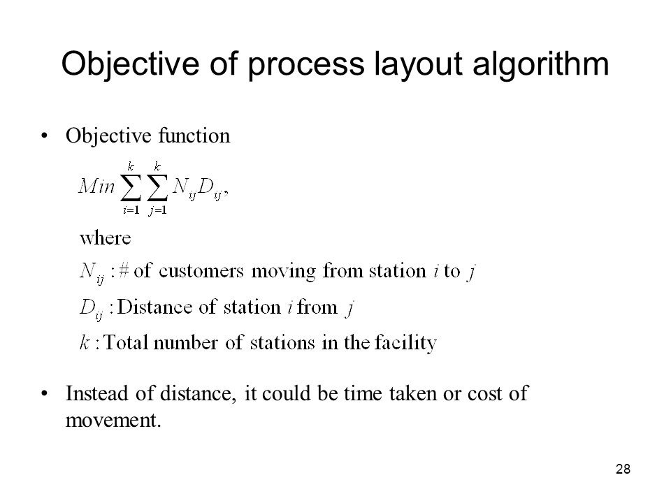 Objective of process layout algorithm