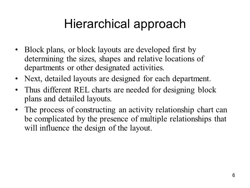 Hierarchical approach