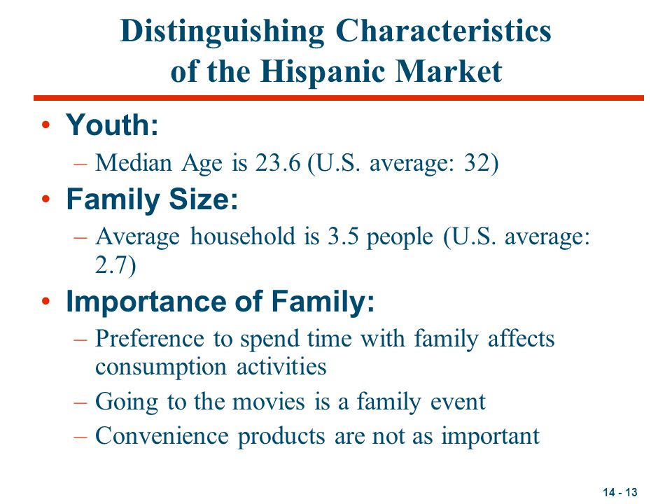 Distinguishing Characteristics of the Hispanic Market