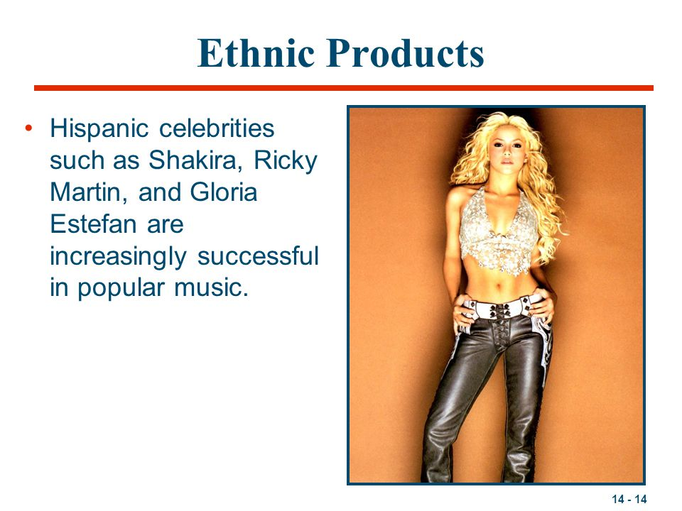 Ethnic Products Hispanic celebrities such as Shakira, Ricky Martin, and Gloria Estefan are increasingly successful in popular music.