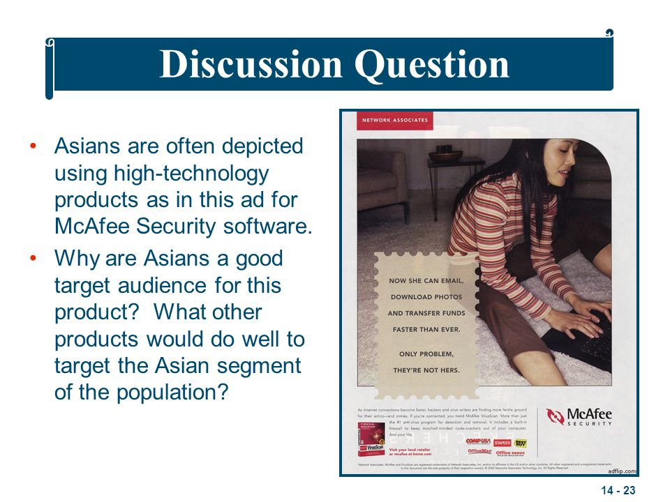 Discussion Question Asians are often depicted using high-technology products as in this ad for McAfee Security software.
