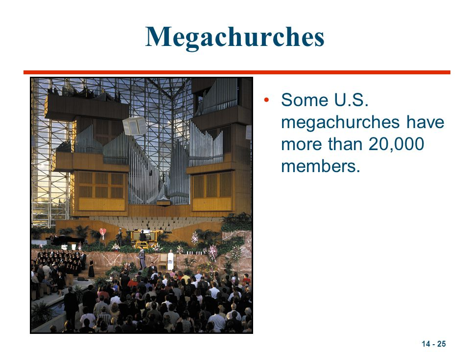 Megachurches Some U.S. megachurches have more than 20,000 members.