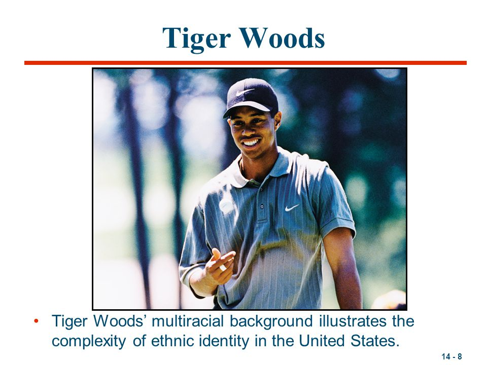 Tiger Woods Tiger Woods' multiracial background illustrates the complexity of ethnic identity in the United States.