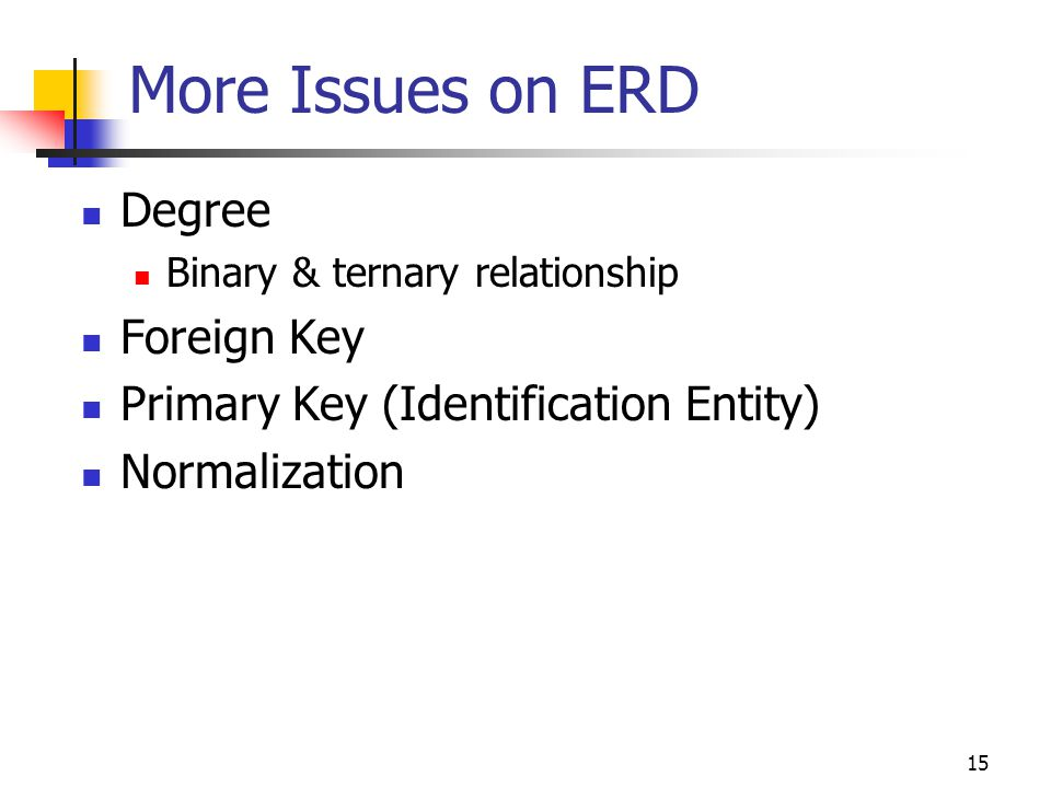 More Issues on ERD Degree Foreign Key