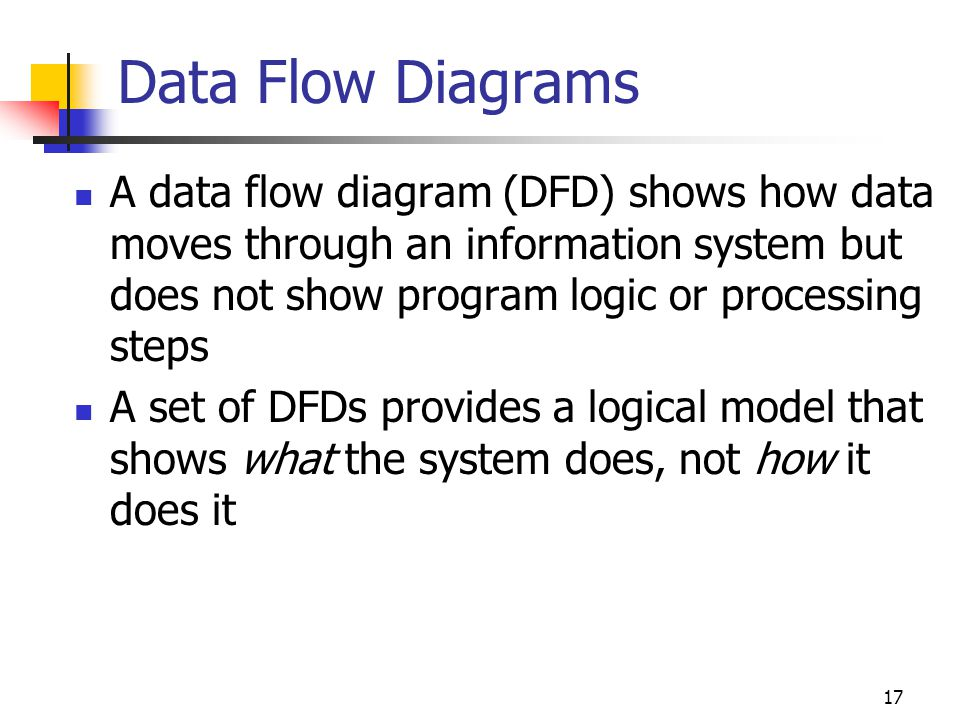 Data Flow Diagrams A data flow diagram (DFD) shows how data moves through an information system but does not show program logic or processing steps.