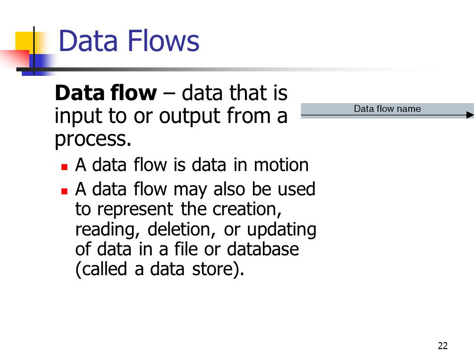 Data Flows Data flow – data that is input to or output from a process.