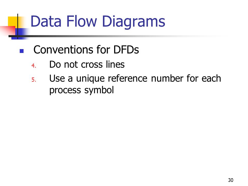 Data Flow Diagrams Conventions for DFDs Do not cross lines