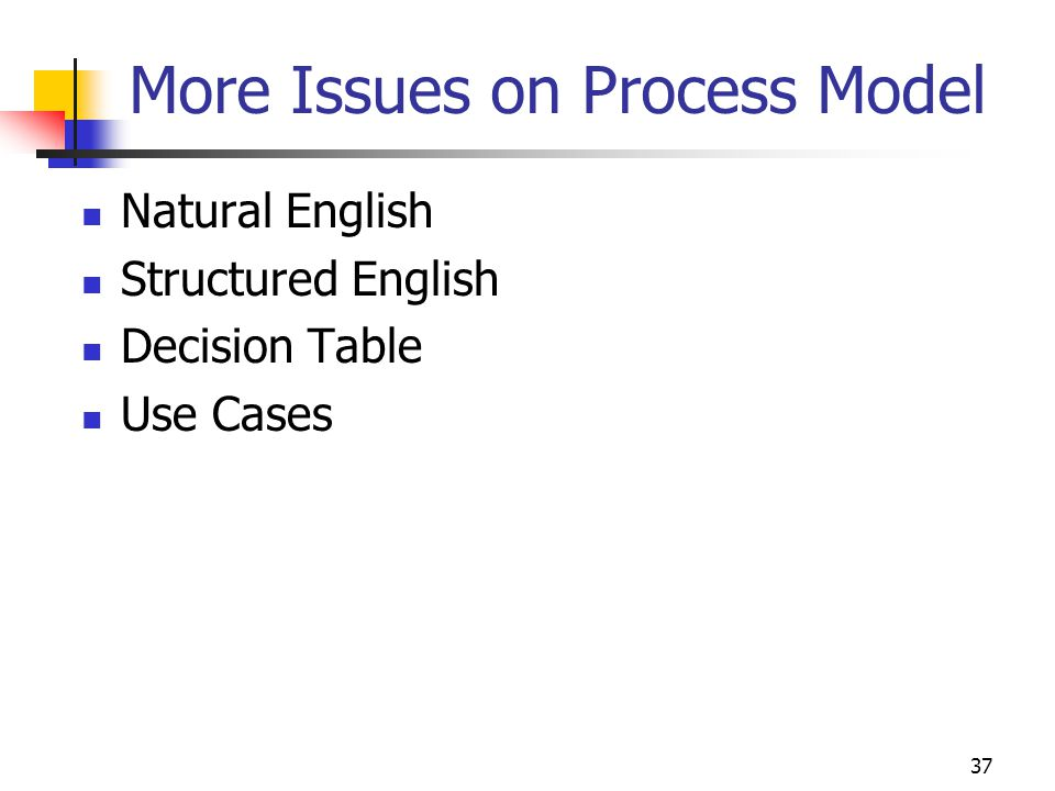 More Issues on Process Model