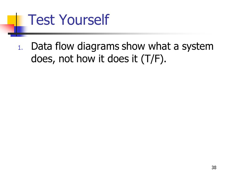 Test Yourself Data flow diagrams show what a system does, not how it does it (T/F). 49