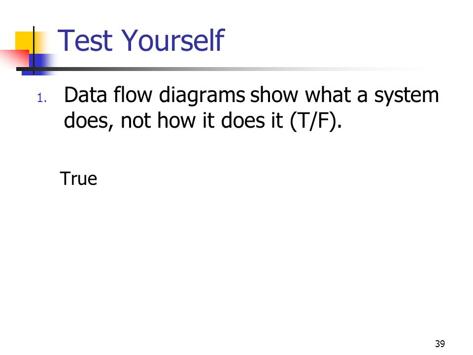 Test Yourself Data flow diagrams show what a system does, not how it does it (T/F). True 49