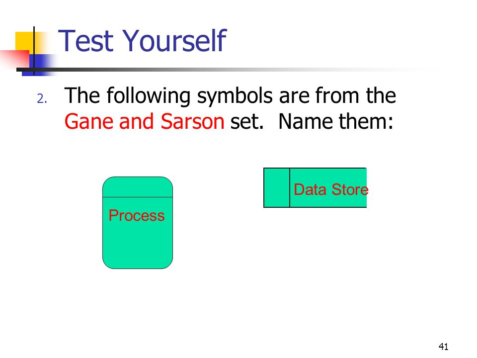 Test Yourself The following symbols are from the Gane and Sarson set. Name them: Data Store.
