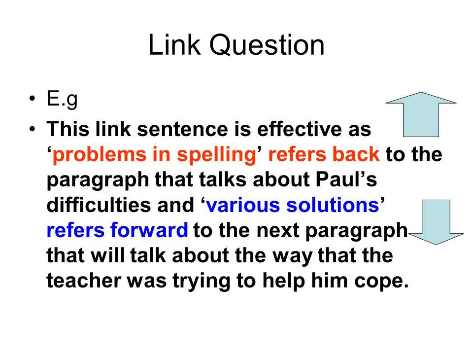 Link Question E.g.