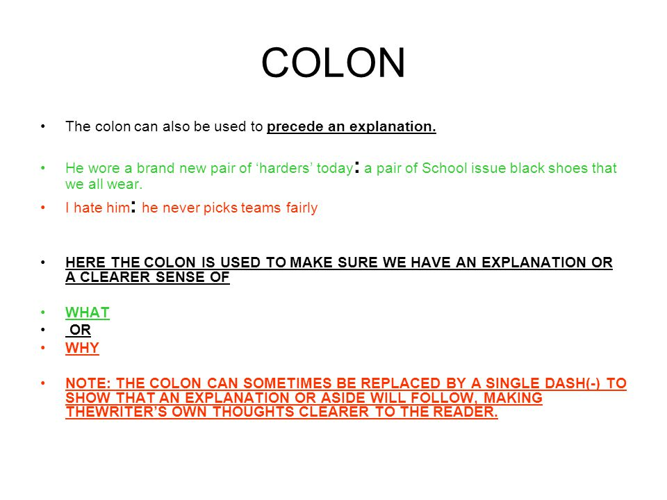 COLON The colon can also be used to precede an explanation.