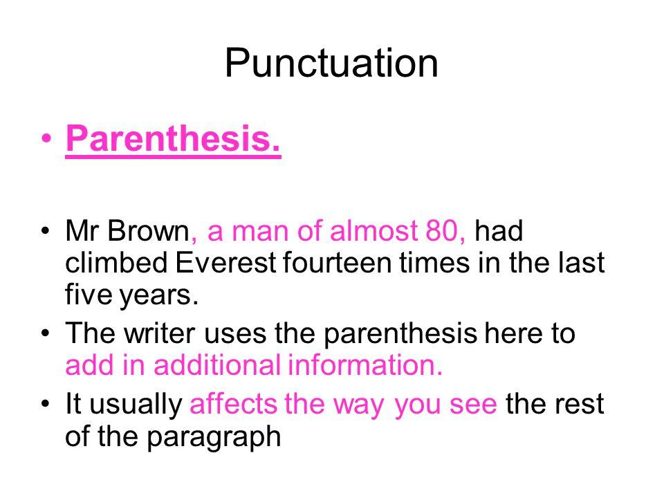 Punctuation Parenthesis.