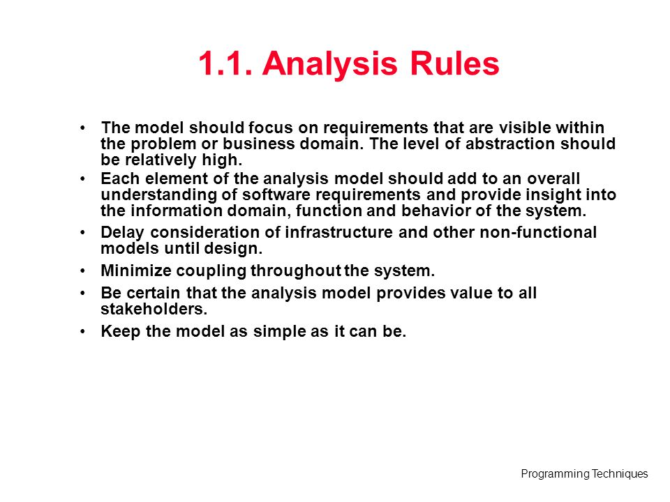 1.1. Analysis Rules