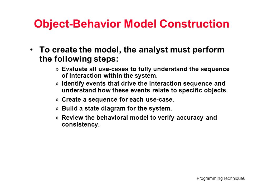 Object-Behavior Model Construction
