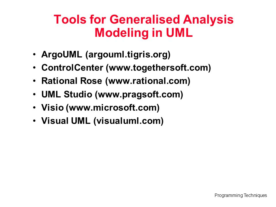 Tools for Generalised Analysis Modeling in UML