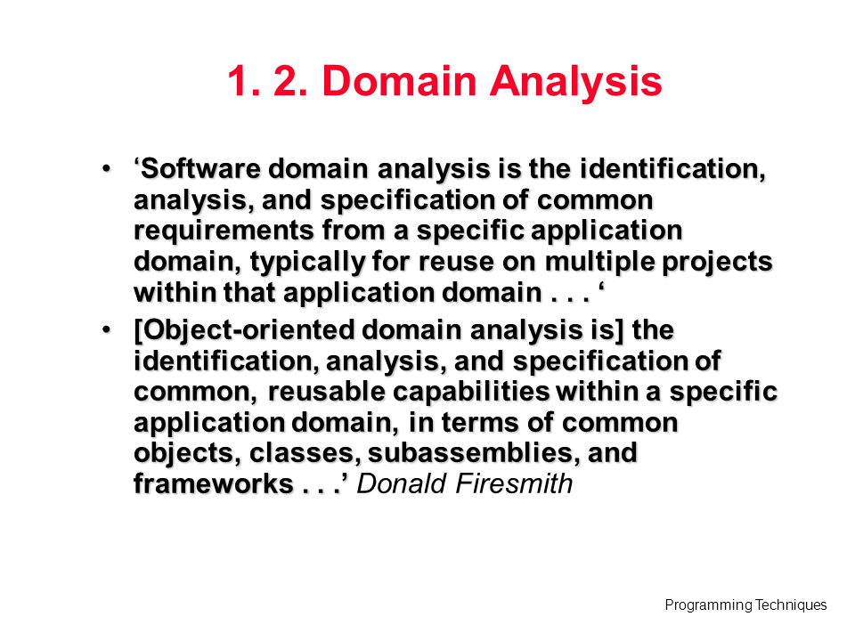 1. 2. Domain Analysis