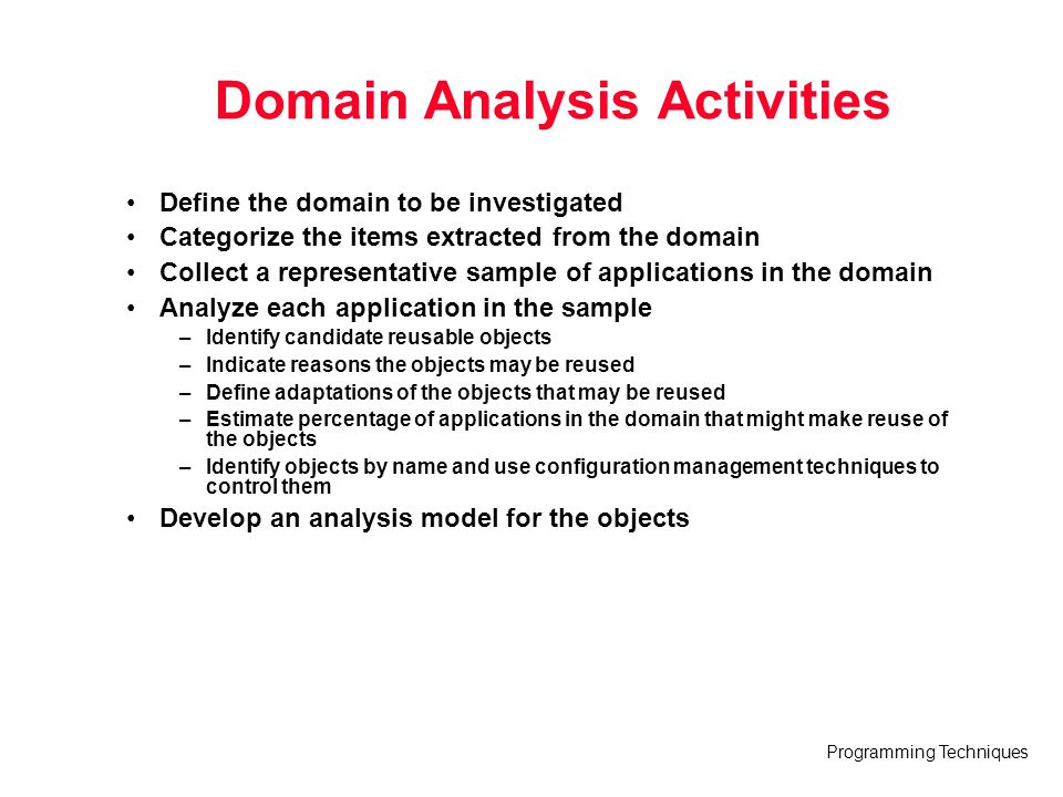 Domain Analysis Activities