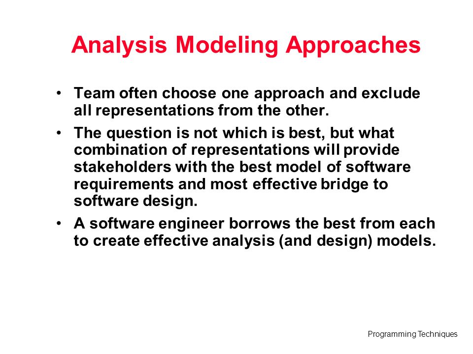 Analysis Modeling Approaches