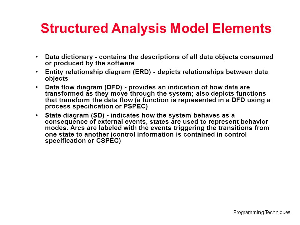 Structured Analysis Model Elements