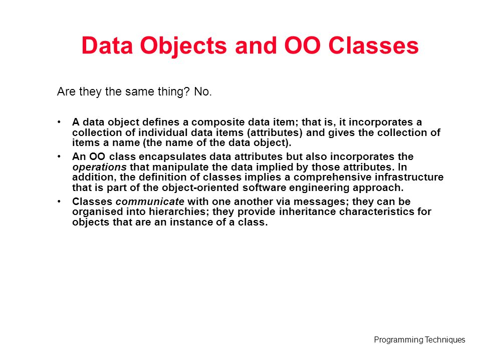 Data Objects and OO Classes