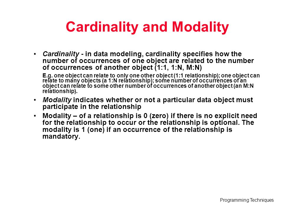 cardinality and modality of a relationship